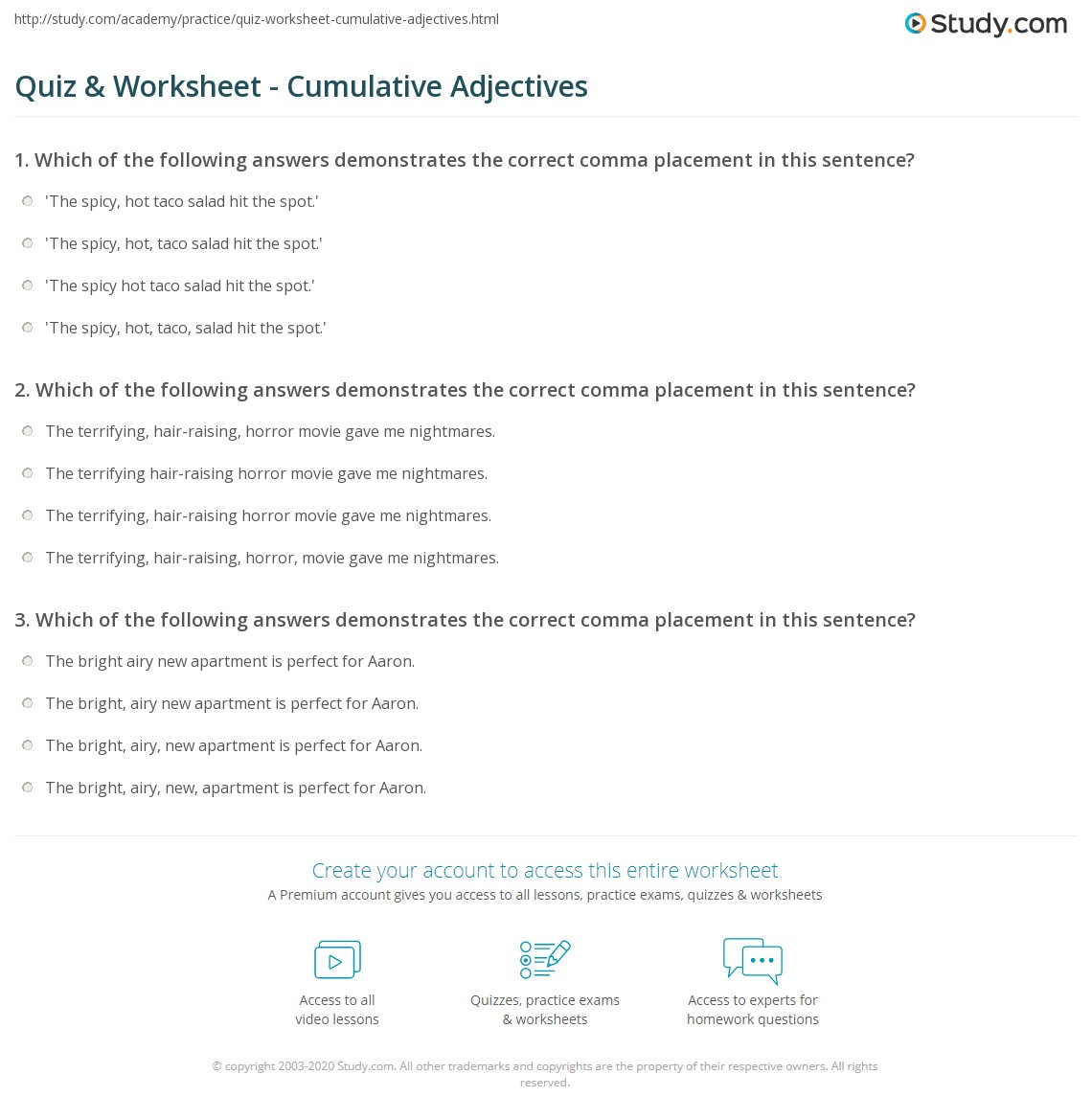 Quiz Worksheet Cumulative Adjectives – Adjective Order Worksheet