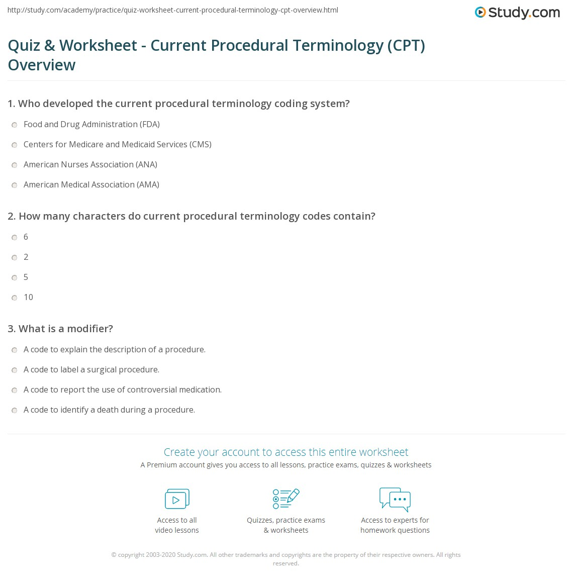 quiz-worksheet-current-procedural-terminology-cpt-overview Quiz In Code Math Worksheet Answers on order operations, sixth grade,