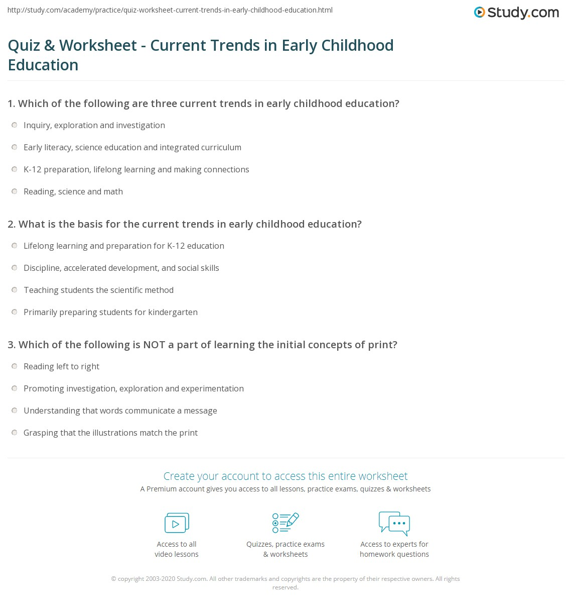 Quiz worksheet current trends in early childhood education current trends in early childhood education publicscrutiny Gallery