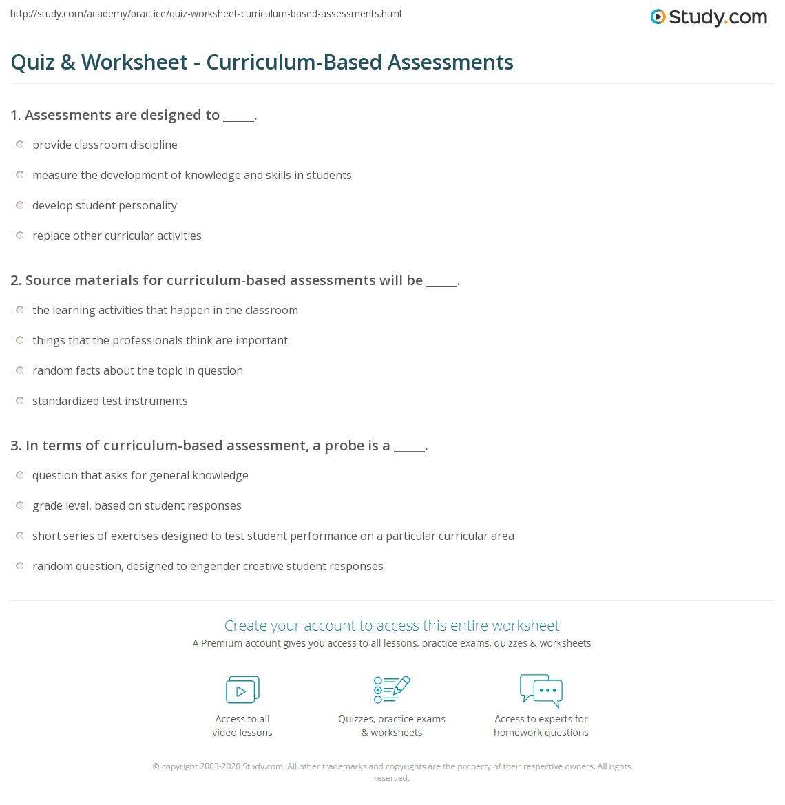 Quiz & Worksheet - Curriculum-Based Assessments | Study.com