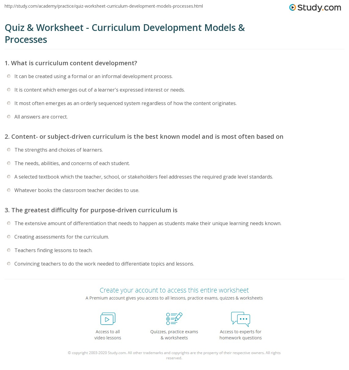 Quiz Worksheet Curriculum Development Models Processes Study