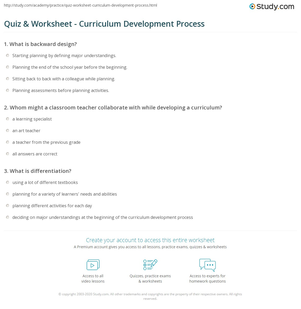 worksheet Curriculum Worksheet quiz worksheet curriculum development process study com print what is the worksheet