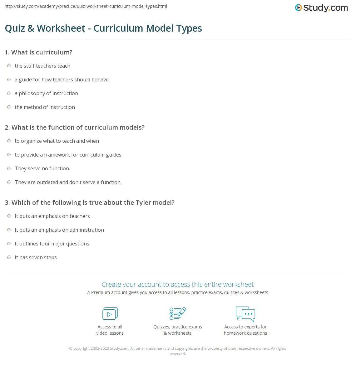 quiz worksheet curriculum model types. Black Bedroom Furniture Sets. Home Design Ideas