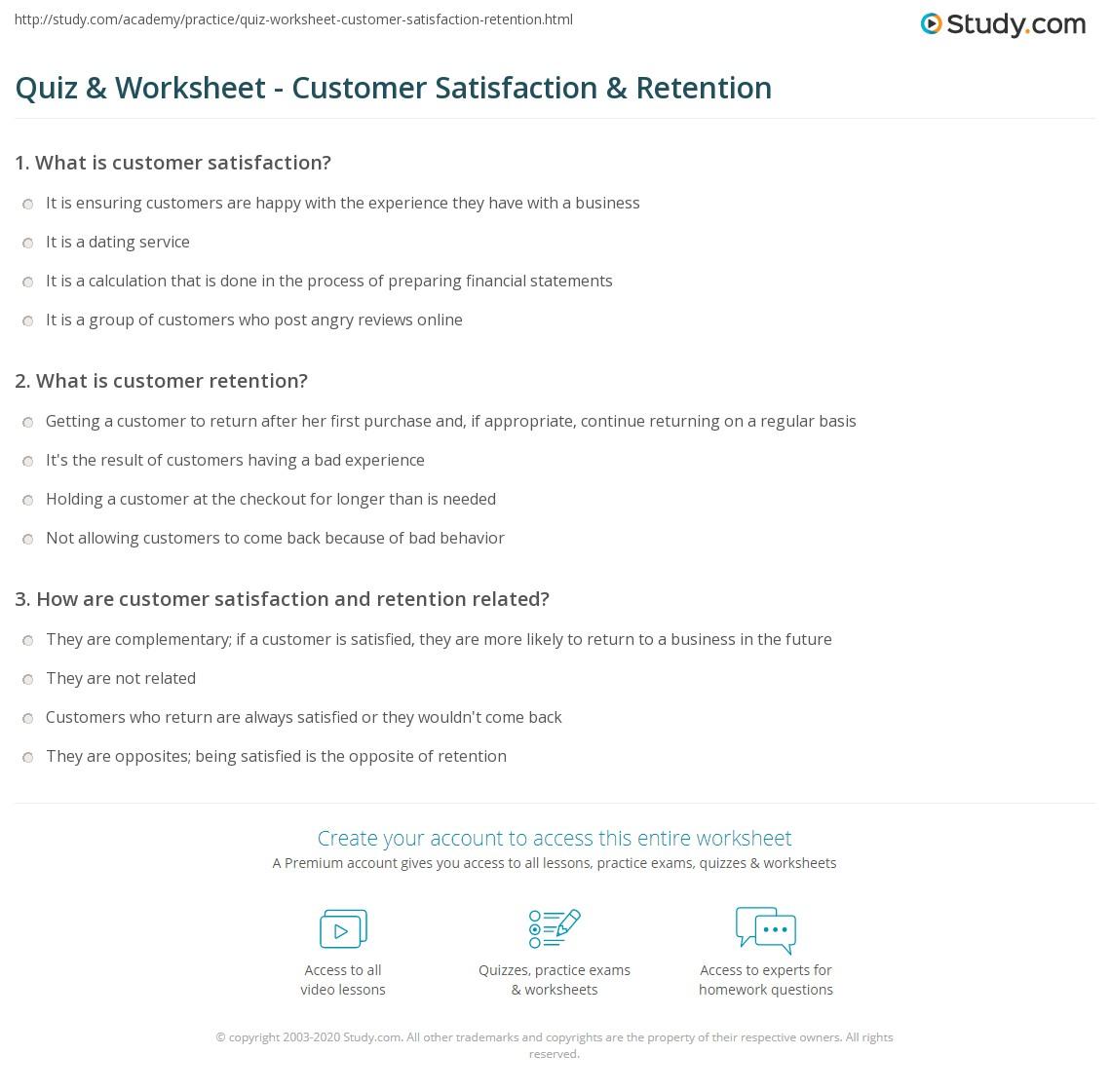 Quiz amp Worksheet Customer Satisfaction amp Retention Studycom Quiz Worksheet Customer Satisfaction Retention Quiz Worksheet Customer Satisfaction Retention