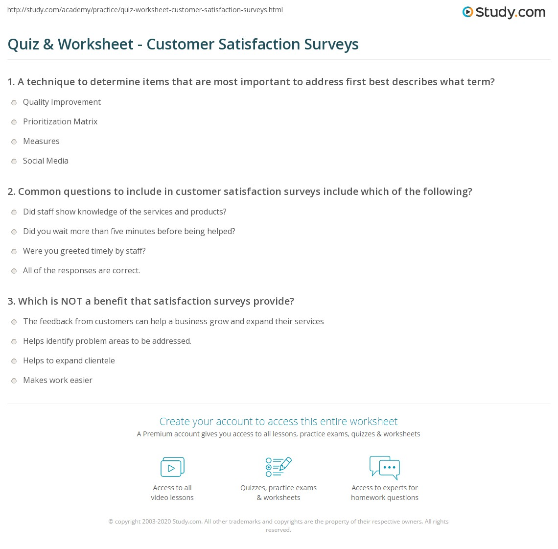 Quiz & Worksheet - Customer Satisfaction Surveys | Study.com