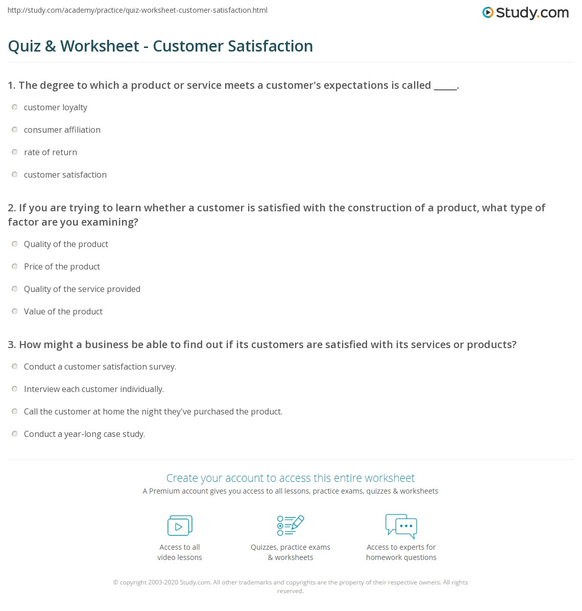 quiz & worksheet - customer satisfaction | study