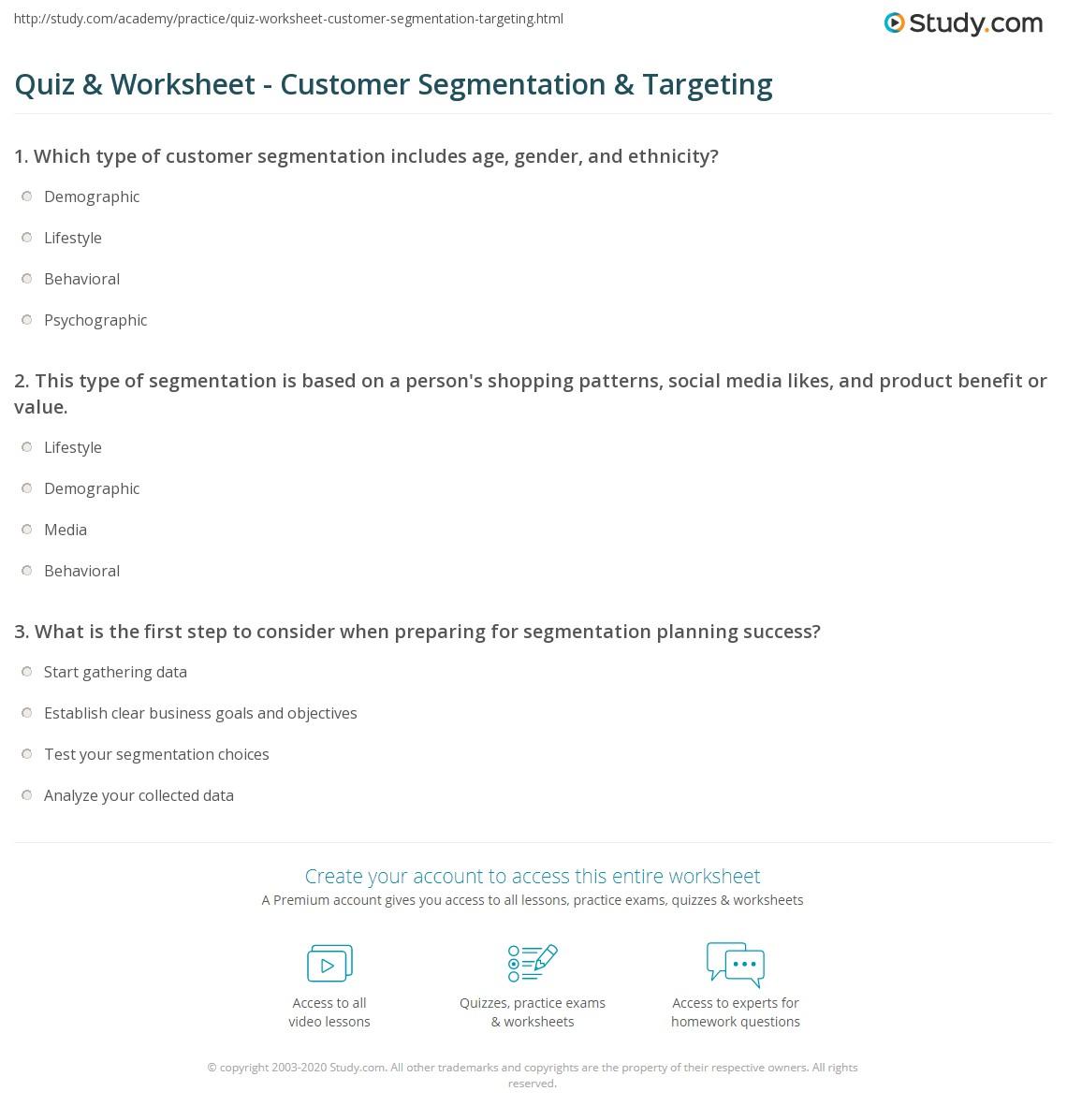 worksheet Segmenting Worksheets quiz worksheet customer segmentation targeting study com print in digital marketing worksheet