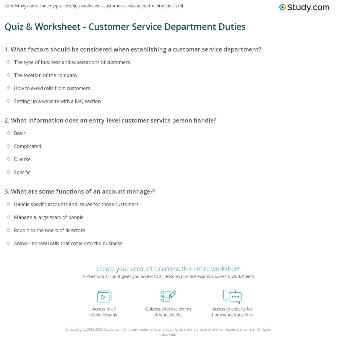 Quiz & Worksheet - Customer Service Department Duties | Study.com