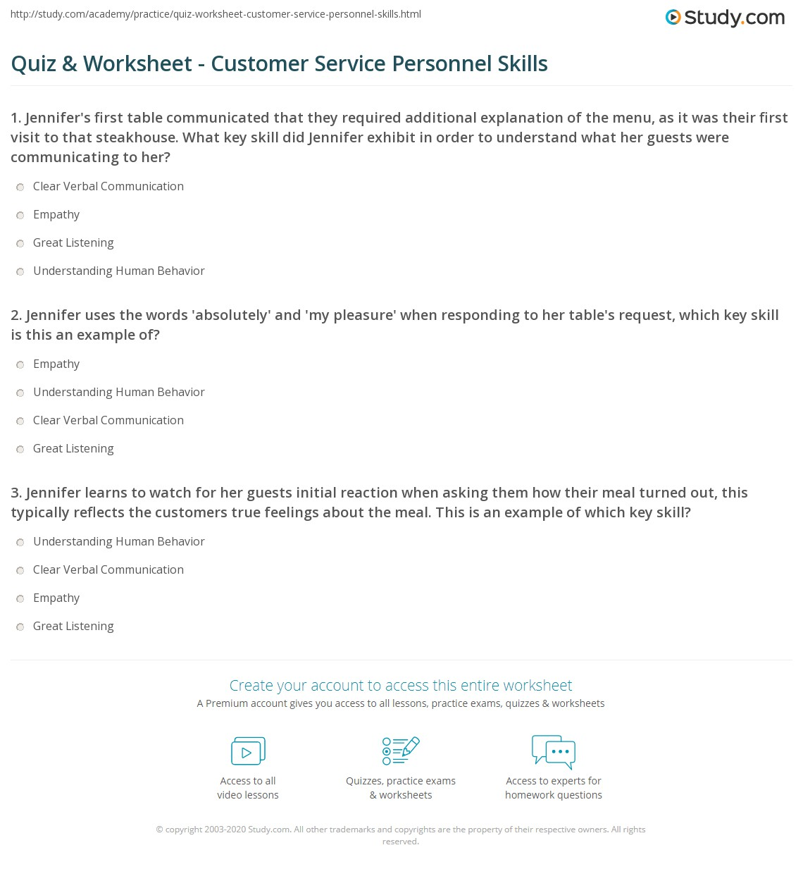 quiz worksheet customer service personnel skills com jennifer uses the words absolutely and my pleasure when responding to her tables request which key skill is this an example of