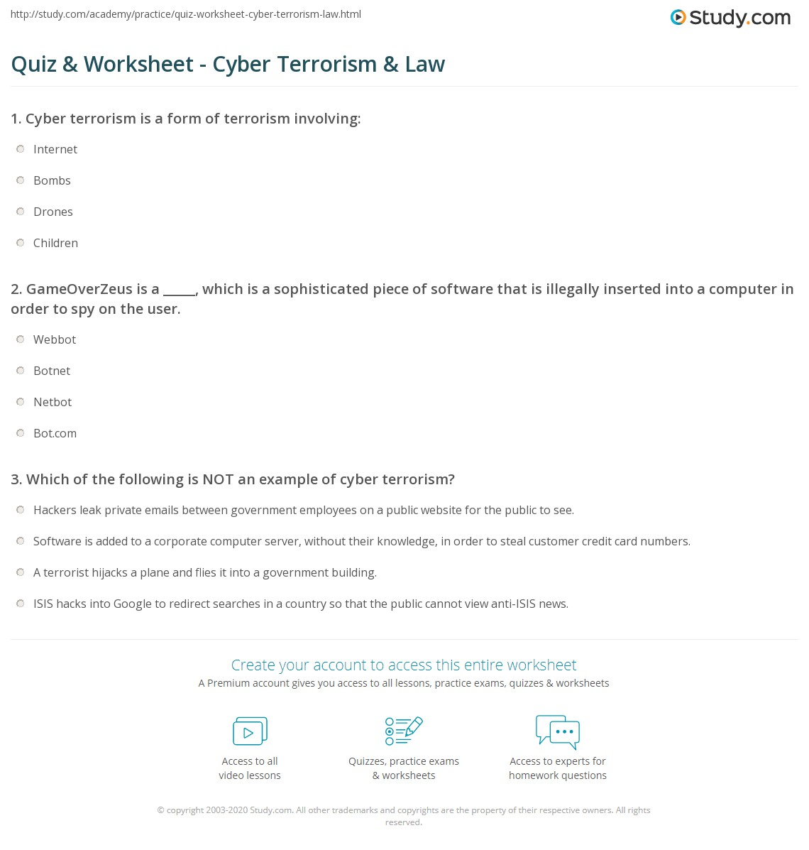 quiz worksheet cyber terrorism law com print what is cyber terrorism definition cases examples worksheet