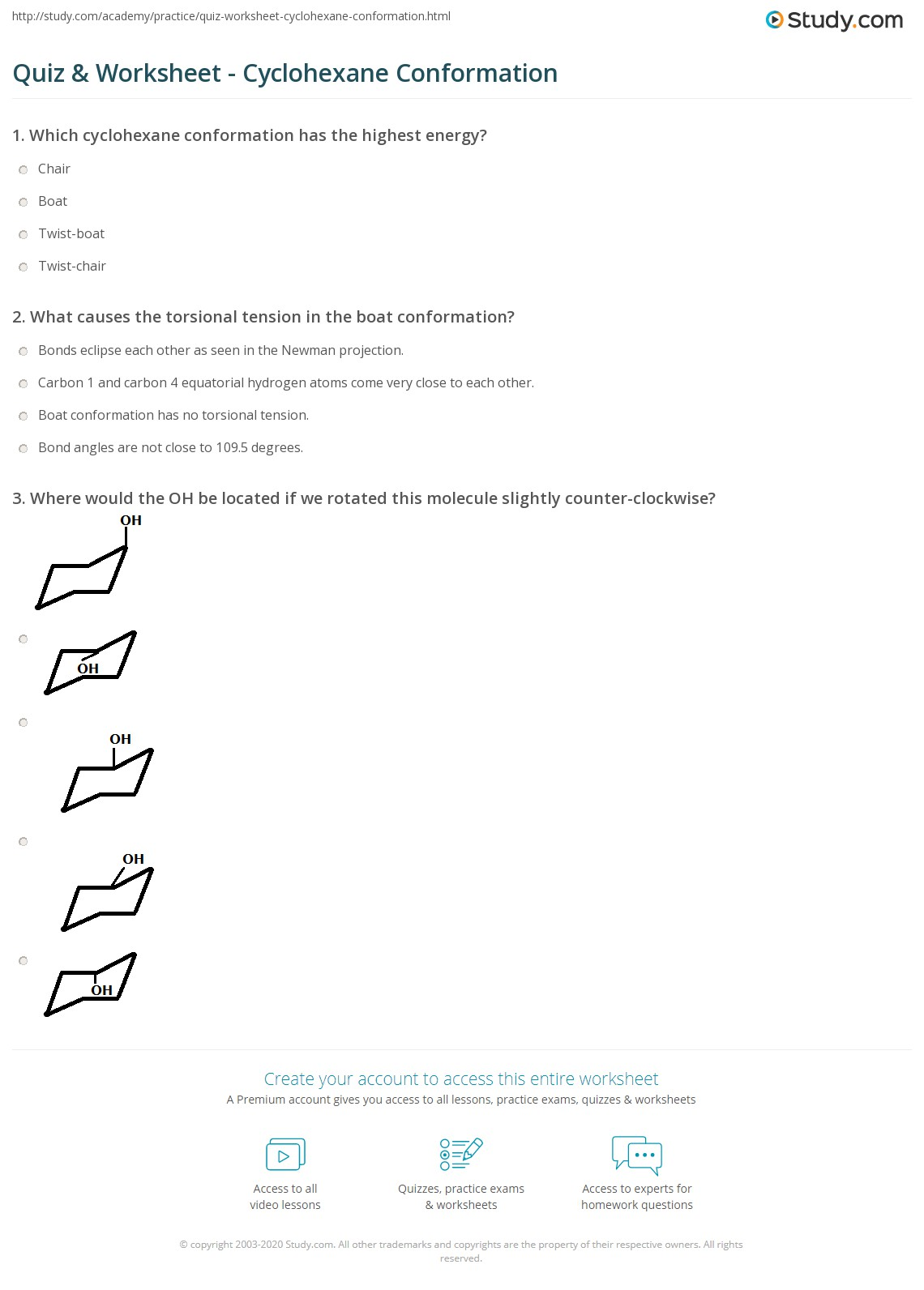 quiz worksheet cyclohexane conformation. Black Bedroom Furniture Sets. Home Design Ideas