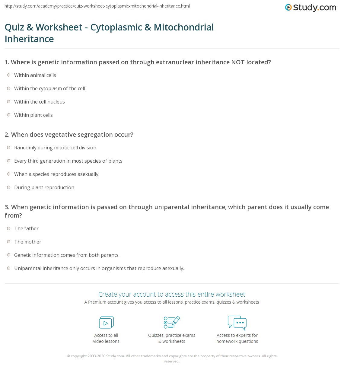 Quiz & Worksheet Cytoplasmic & Mitochondrial Inheritance