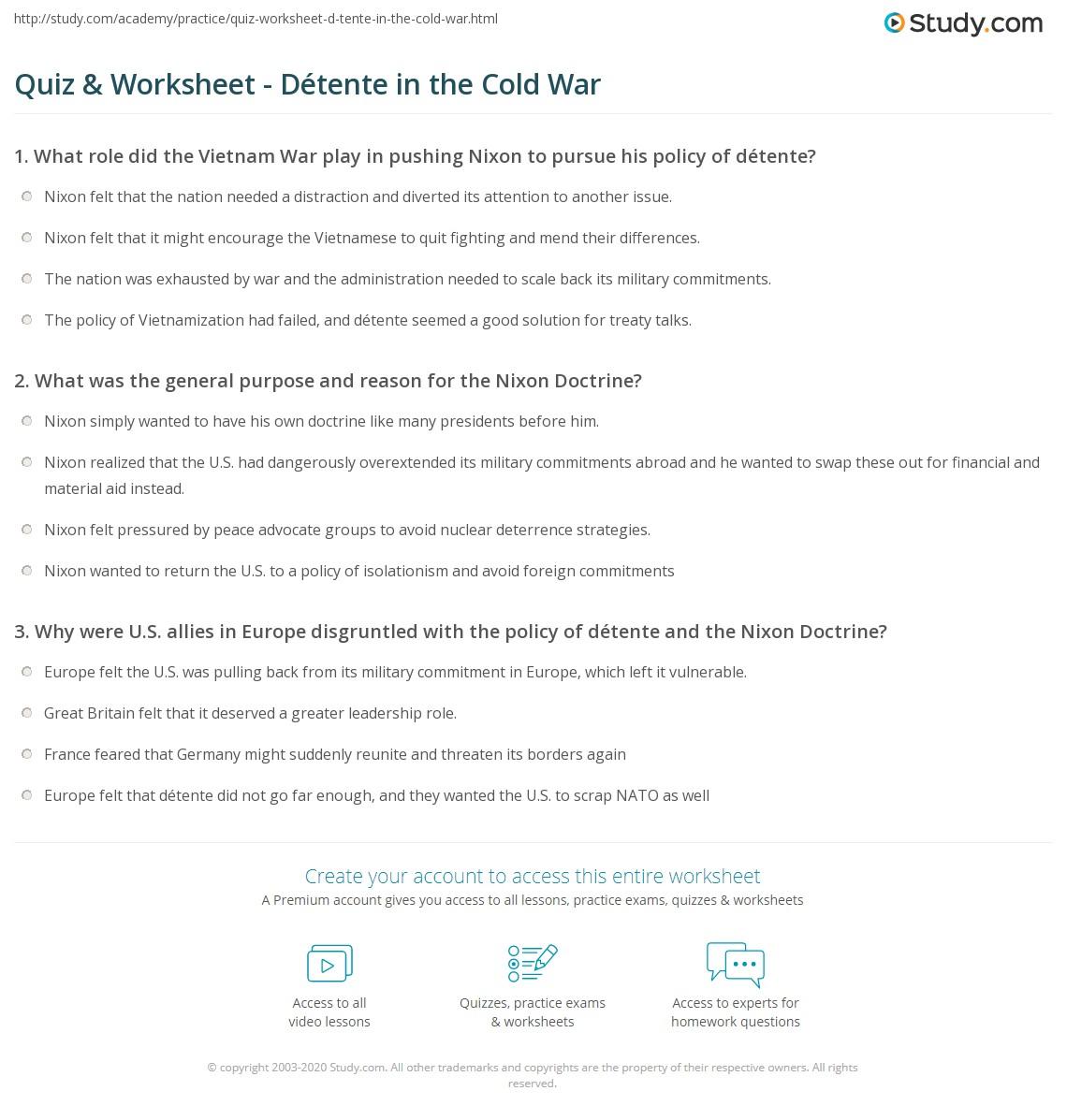 Quiz & Worksheet Détente in the Cold War