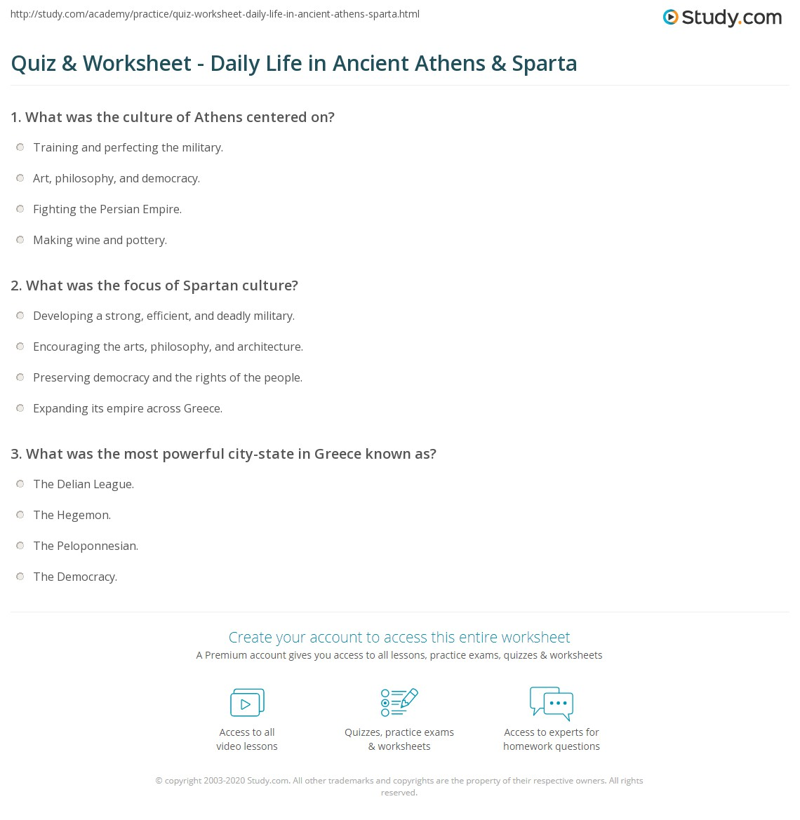 quiz worksheet daily life in ancient athens sparta. Black Bedroom Furniture Sets. Home Design Ideas
