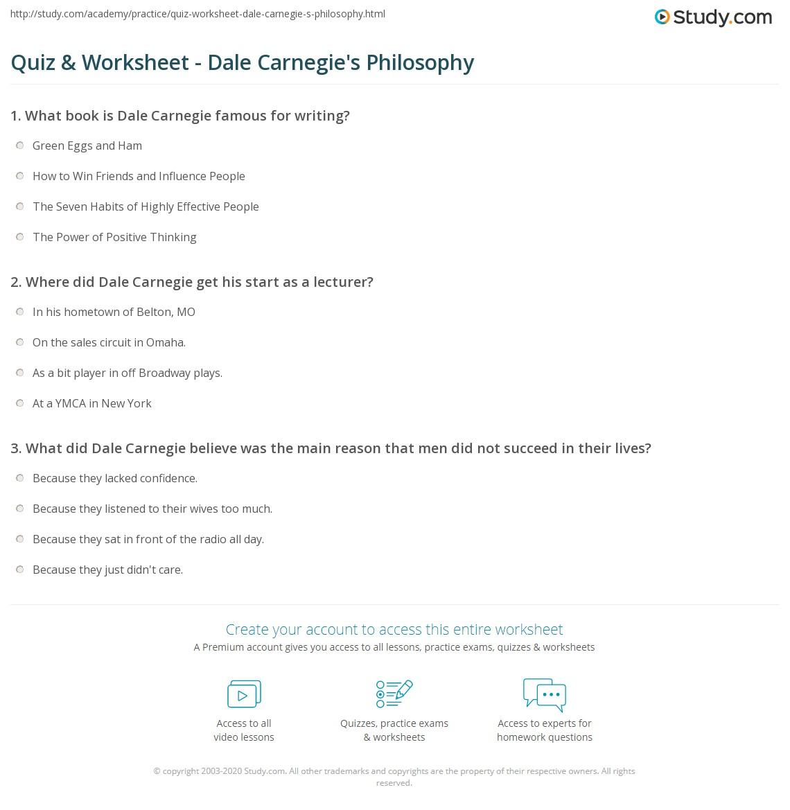 Quiz Worksheet Dale Carnegies Philosophy – Self Improvement Worksheets