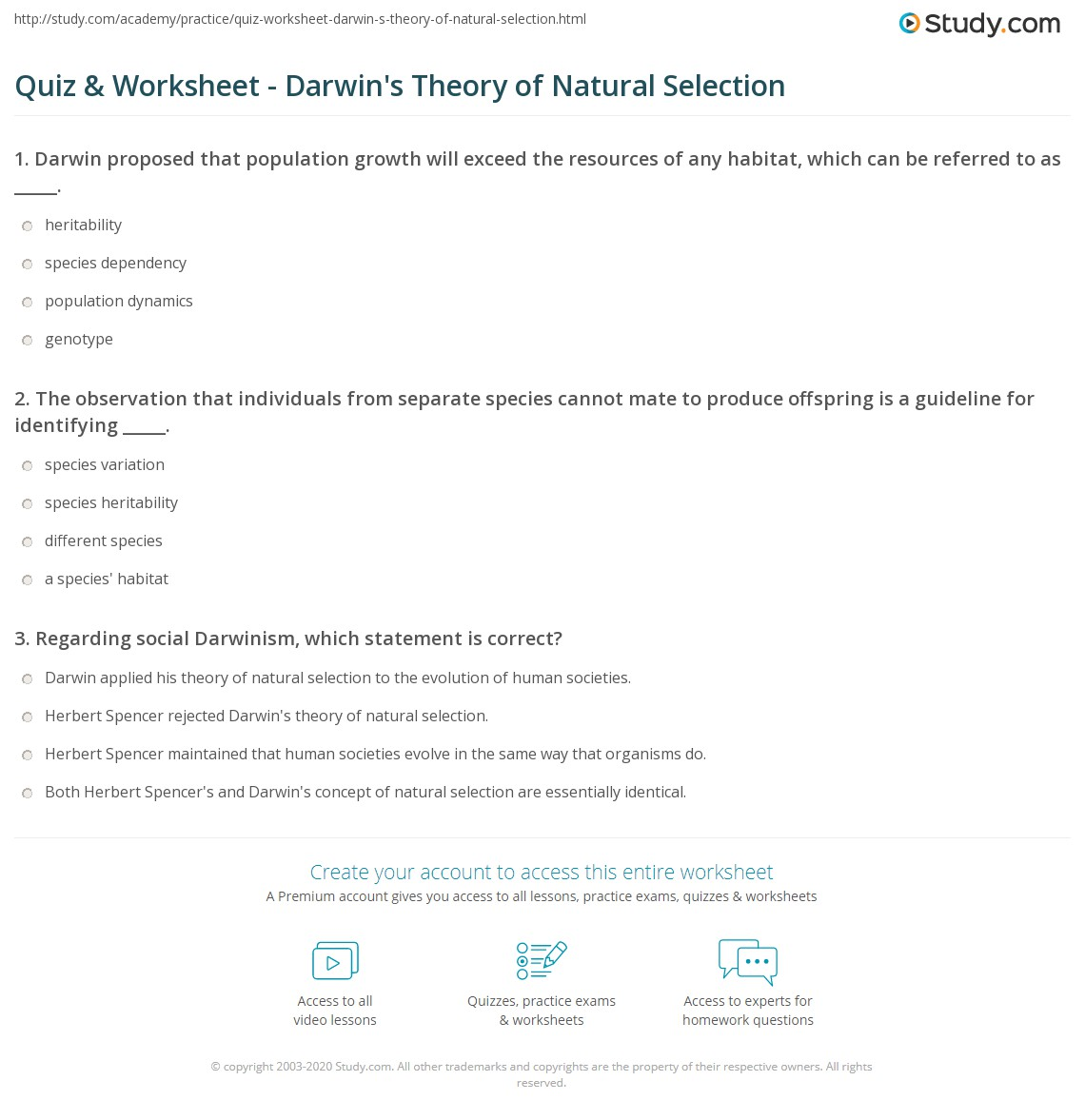 quiz worksheet darwin 39 s theory of natural selection. Black Bedroom Furniture Sets. Home Design Ideas
