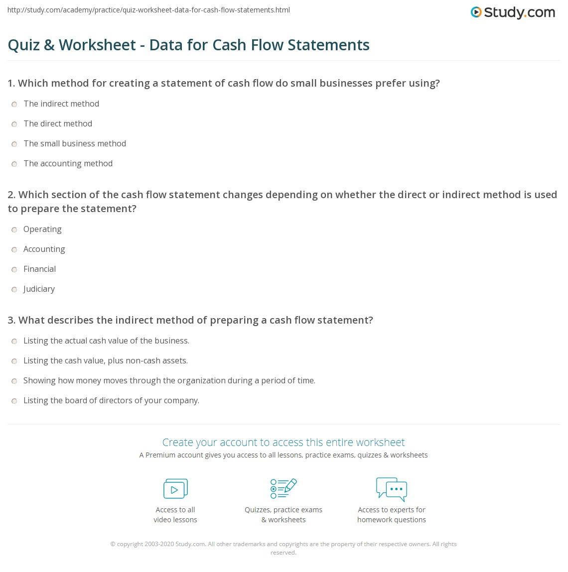 Worksheets Cash Flow Statement Worksheet quiz worksheet data for cash flow statements study com print sources needed to prepare the statement worksheet