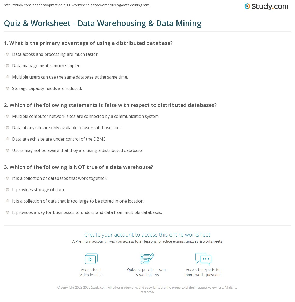 Quiz & Worksheet - Data Warehousing & Data Mining | Study.com