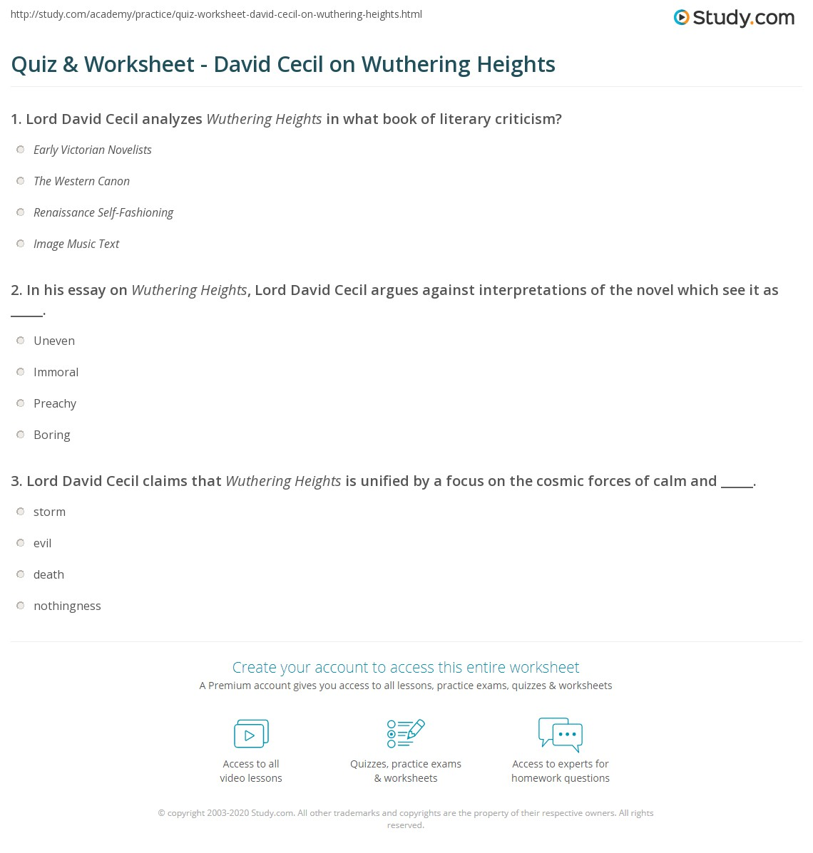 Quiz  Worksheet  David Cecil On Wuthering Heights  Studycom In His Essay On Wuthering Heights Lord David Cecil Argues Against  Interpretations Of The Novel Which See It As