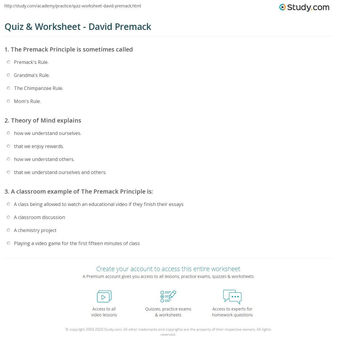 Quiz Worksheet David Premack Study