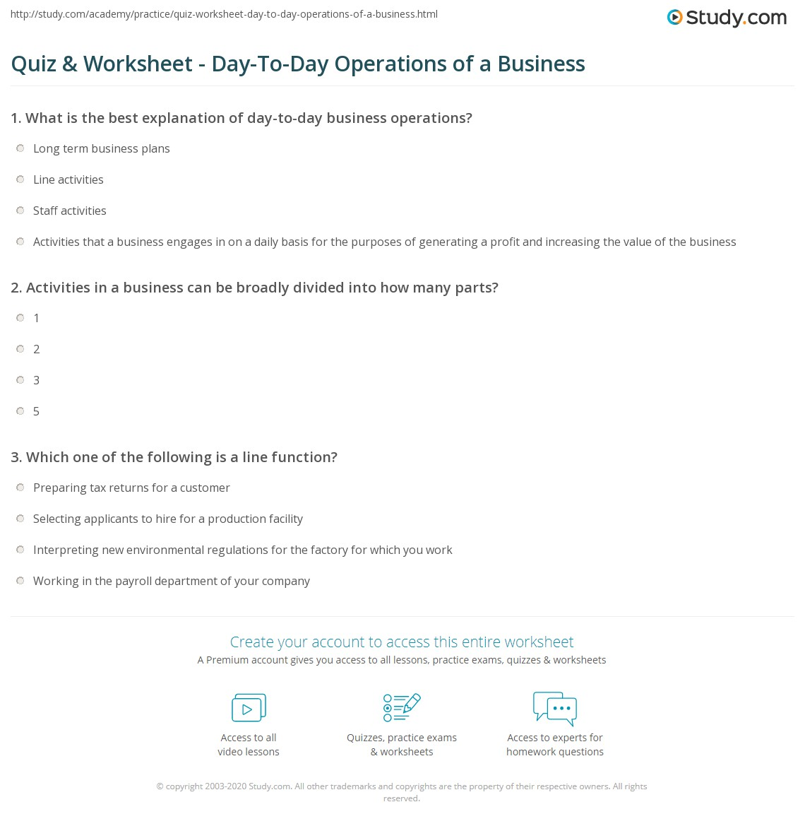 quiz worksheet day to day operations of a business. Black Bedroom Furniture Sets. Home Design Ideas
