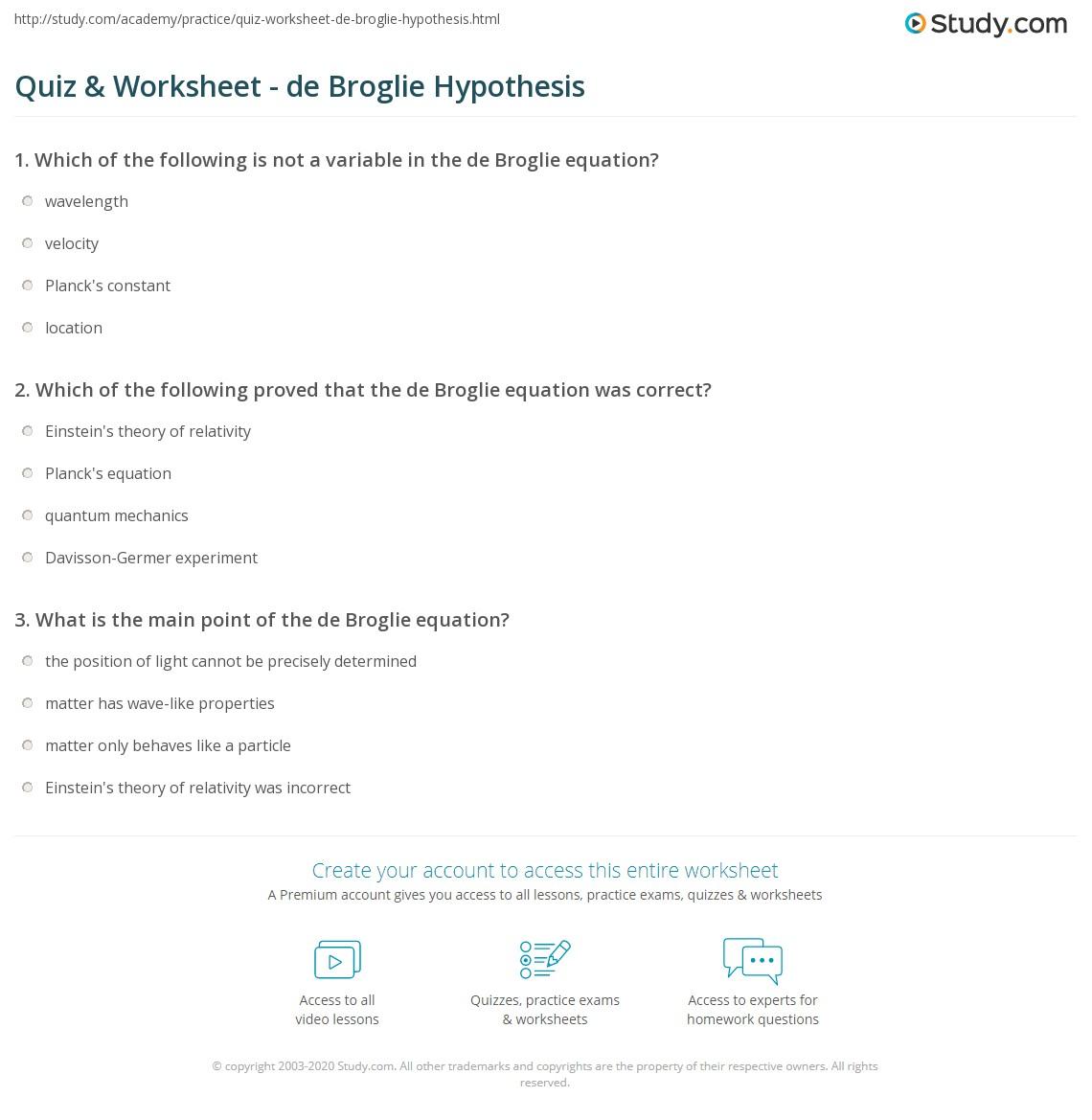quiz worksheet de broglie hypothesis. Black Bedroom Furniture Sets. Home Design Ideas