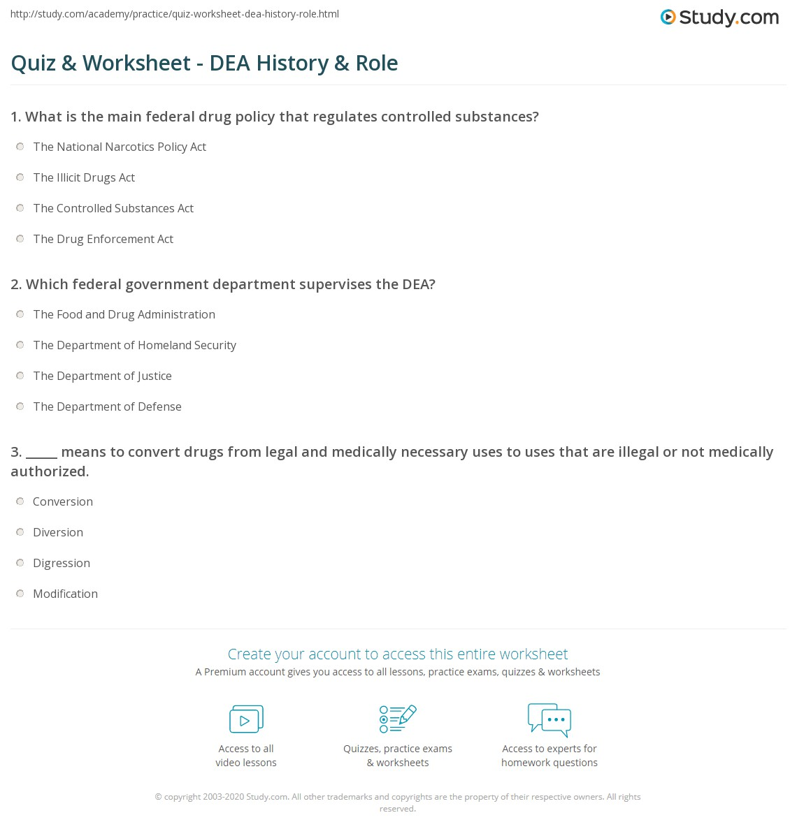 Quiz Worksheet Dea History Role Study