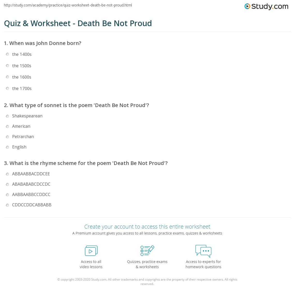 quiz worksheet death be not proud. Black Bedroom Furniture Sets. Home Design Ideas