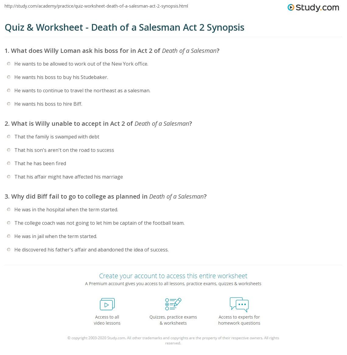 Quiz  Worksheet  Death Of A Salesman Act  Synopsis  Studycom Death Of A Salesman Act  Summary
