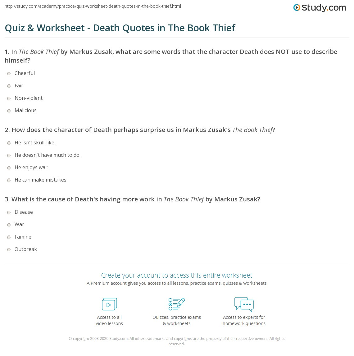 quiz worksheet death quotes in the book thief com how does the character of death perhaps surprise us in markus zusak s the book thief