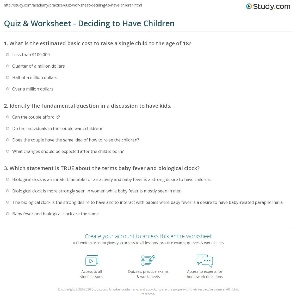 Quiz & Worksheet - Deciding to Have Children   Study.com