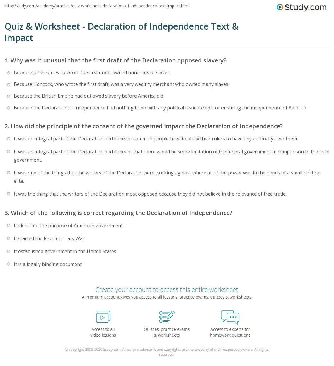 Quiz & Worksheet - Declaration of Independence Text & Impact ...