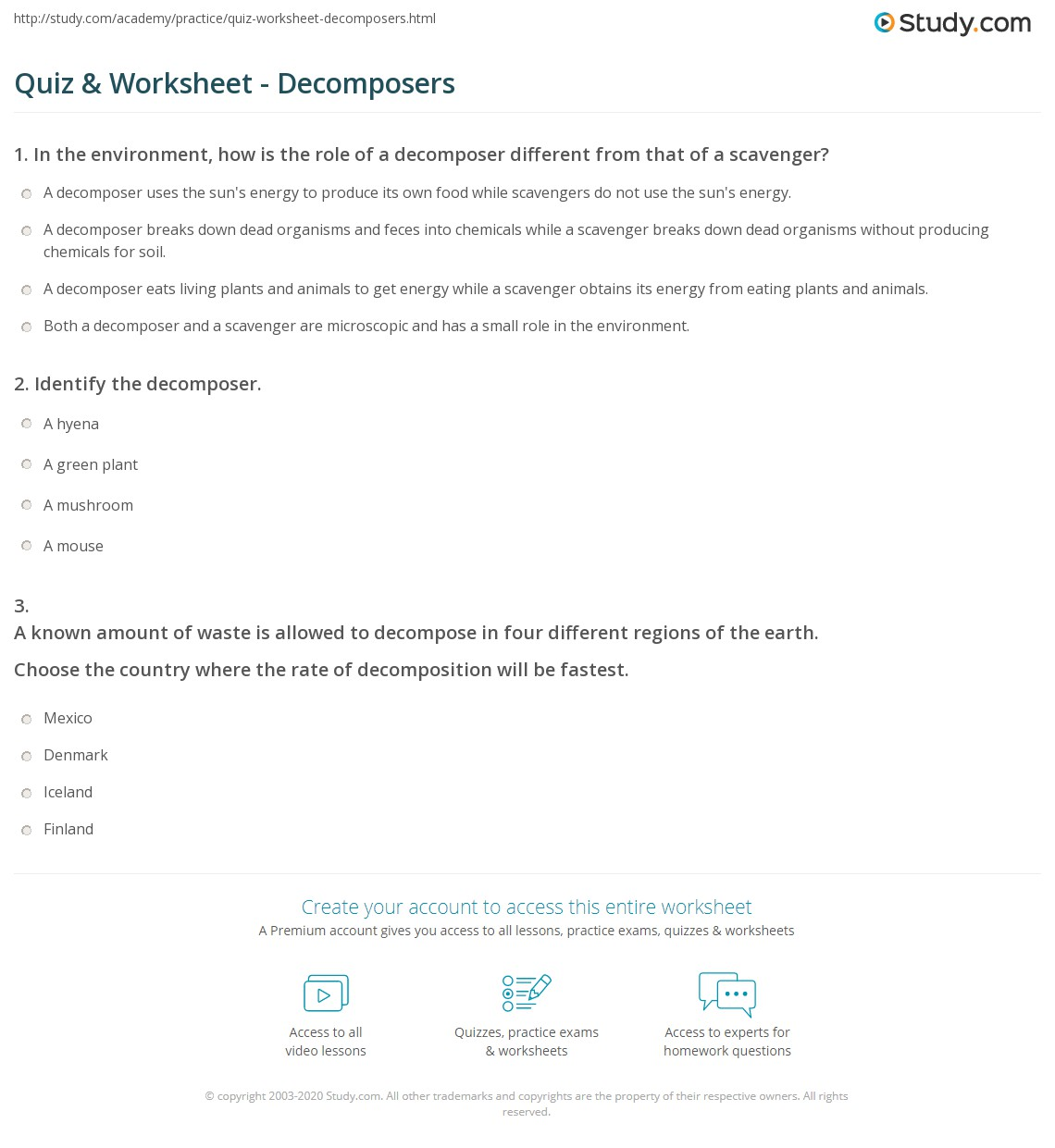 Quiz & Worksheet - Decomposers | Study.com