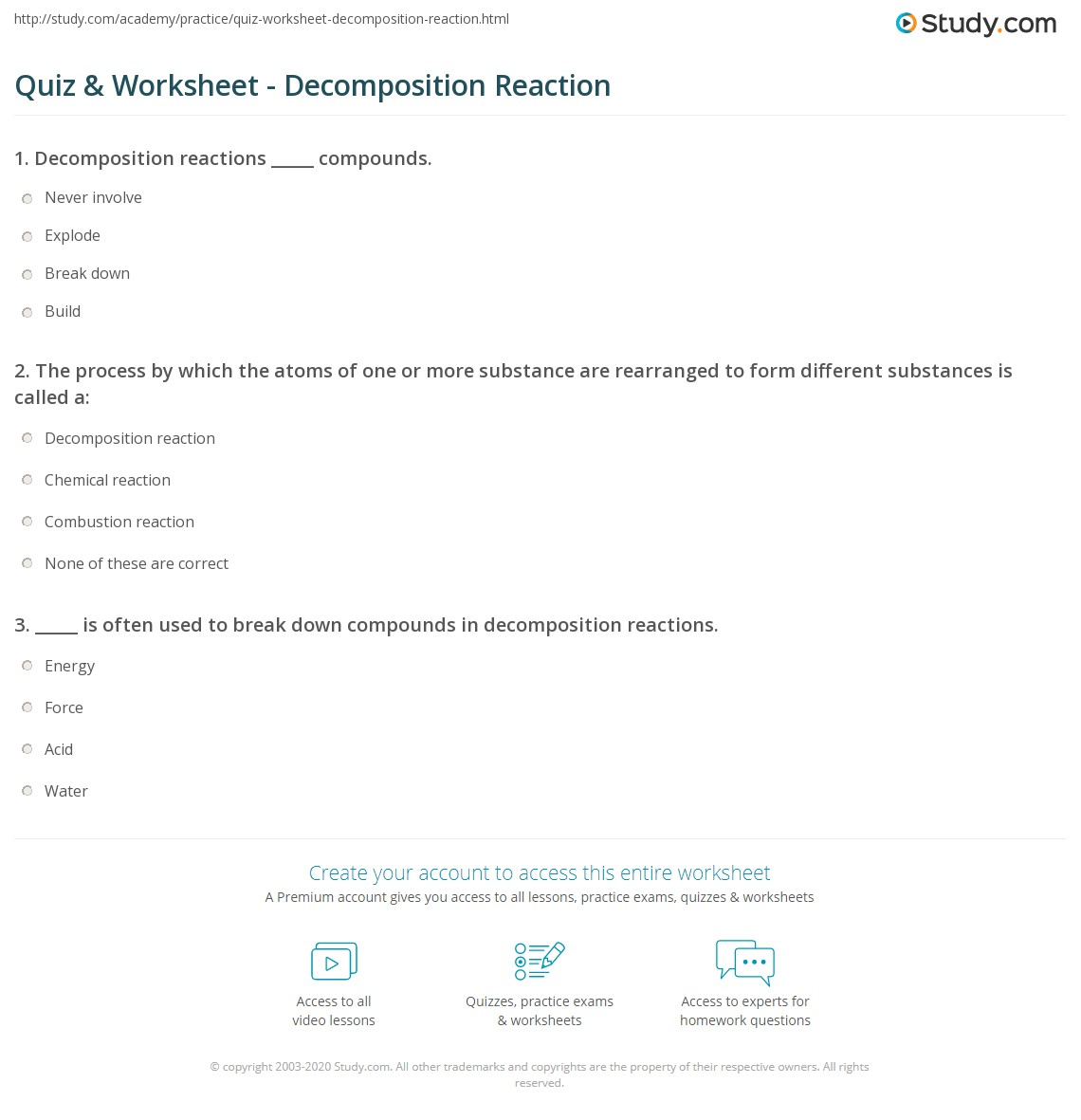 {Quiz Worksheet Decomposition Reaction – Decomposition Reactions Worksheet