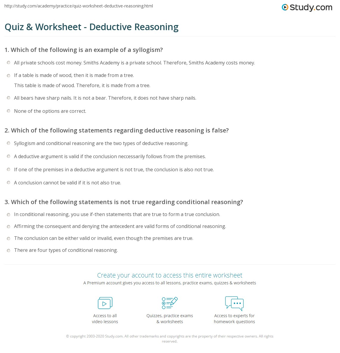 Quiz Worksheet Deductive Reasoning Study