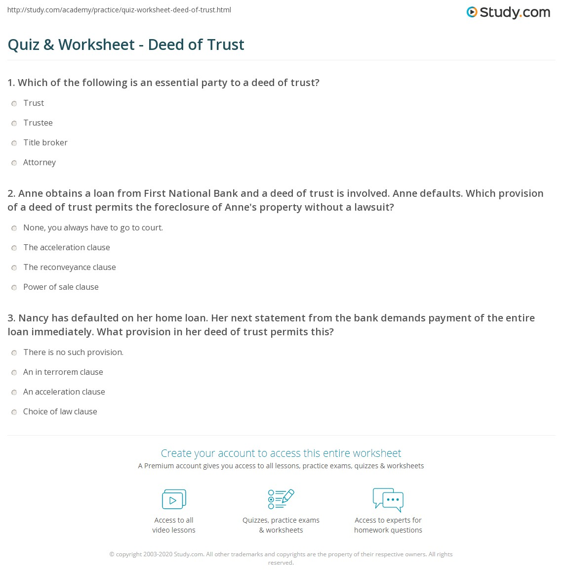 quiz & worksheet - deed of trust | study