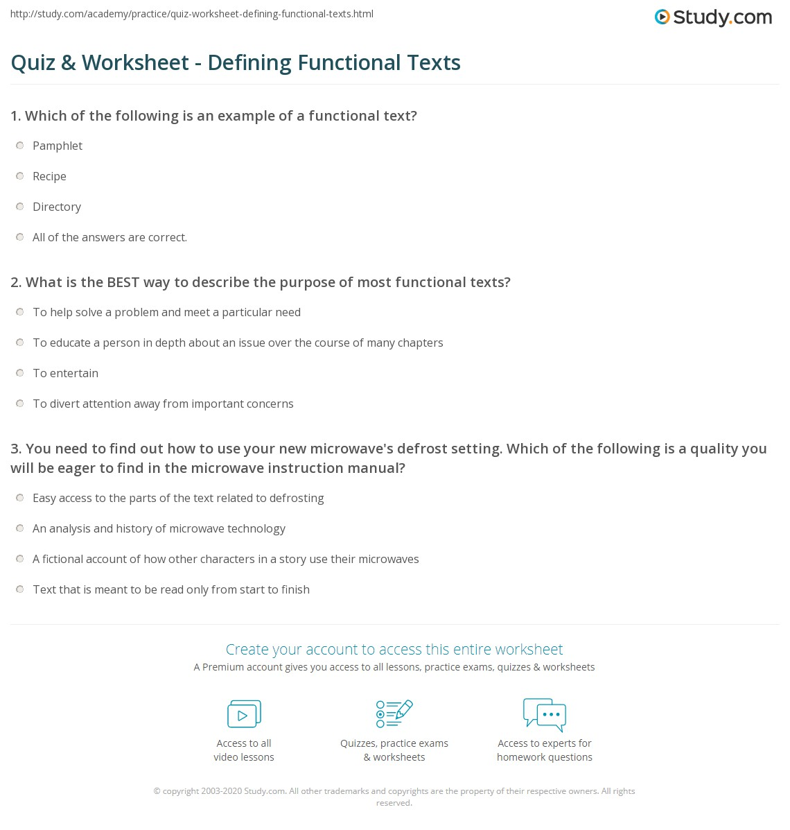 Quiz Worksheet Defining Functional Texts Study