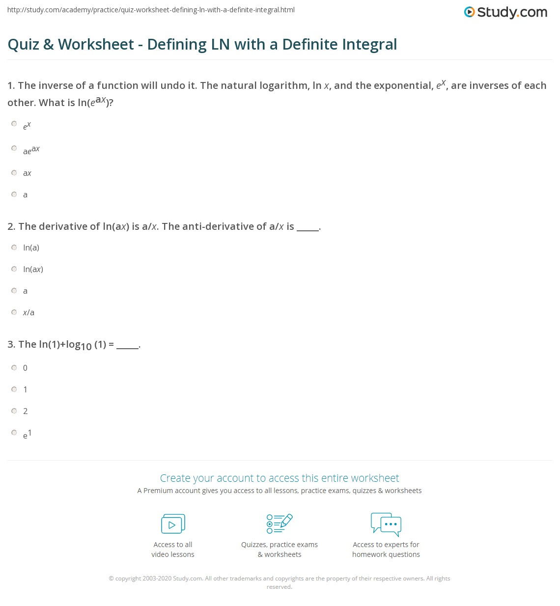 Quiz & Worksheet - Defining LN with a Definite Integral | Study.com