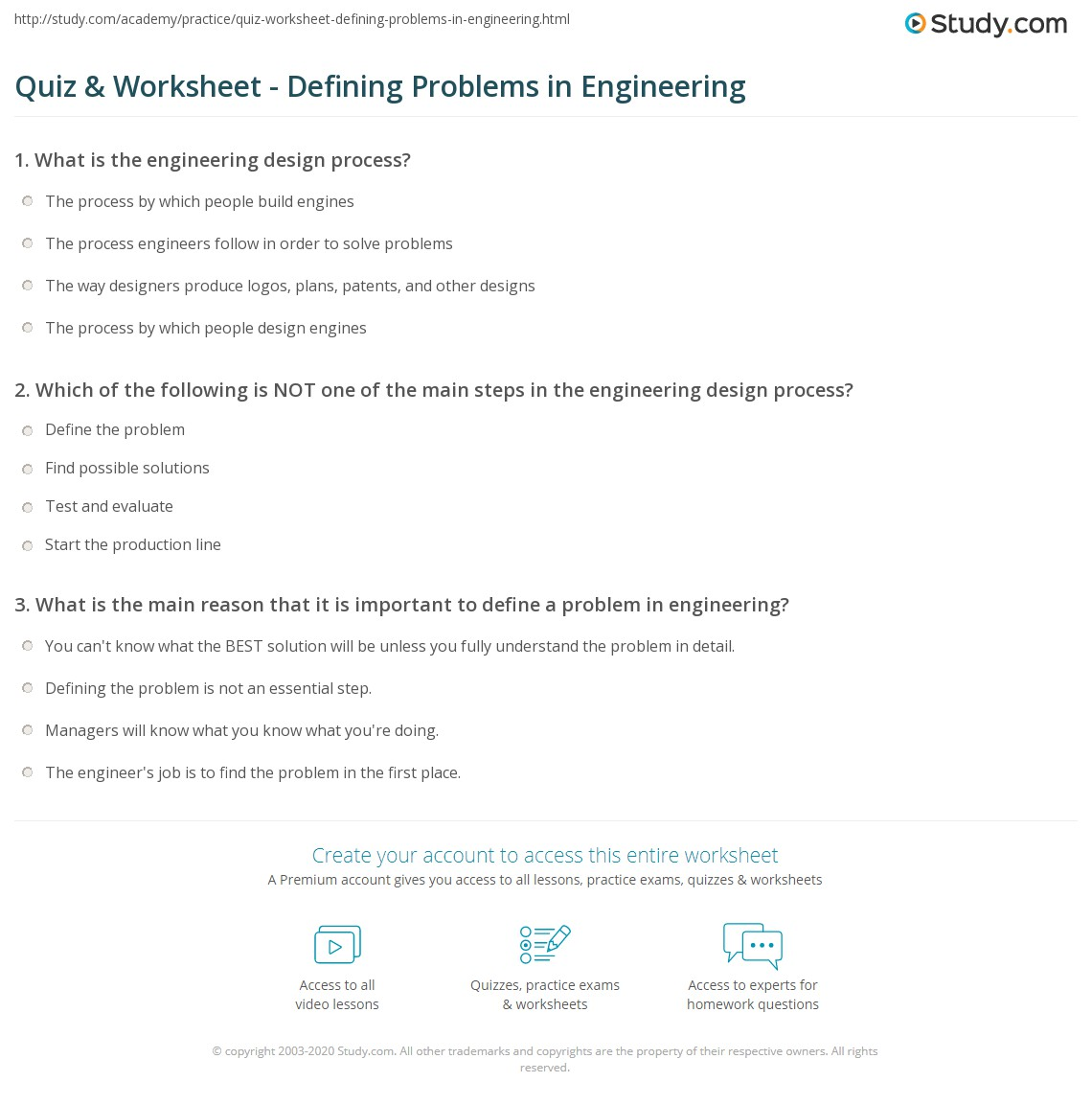 Printables Engineering Worksheets quiz worksheet defining problems in engineering study com print how to define a problem worksheet