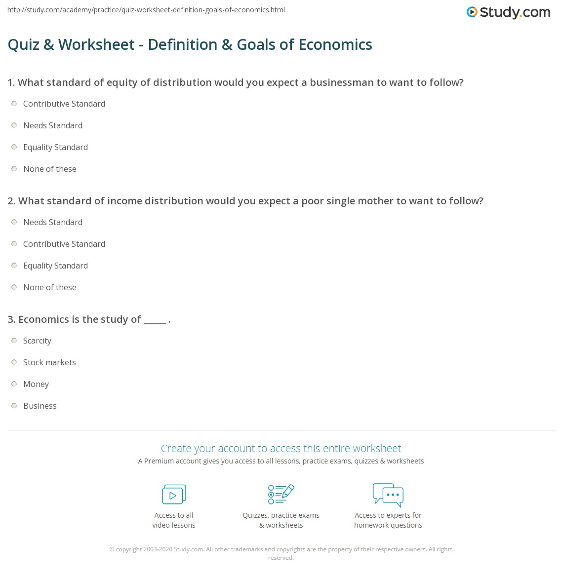 Quiz & Worksheet - Definition & Goals of Economics | Study.com