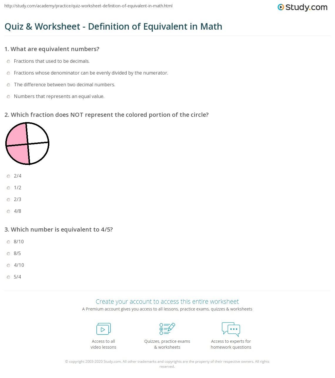 Quiz & Worksheet - Definition of Equivalent in Math   Study.com