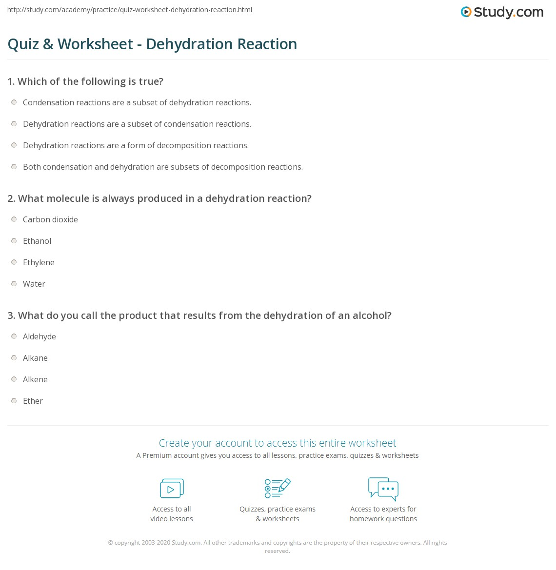 Quiz & Worksheet - Dehydration Reaction | Study com