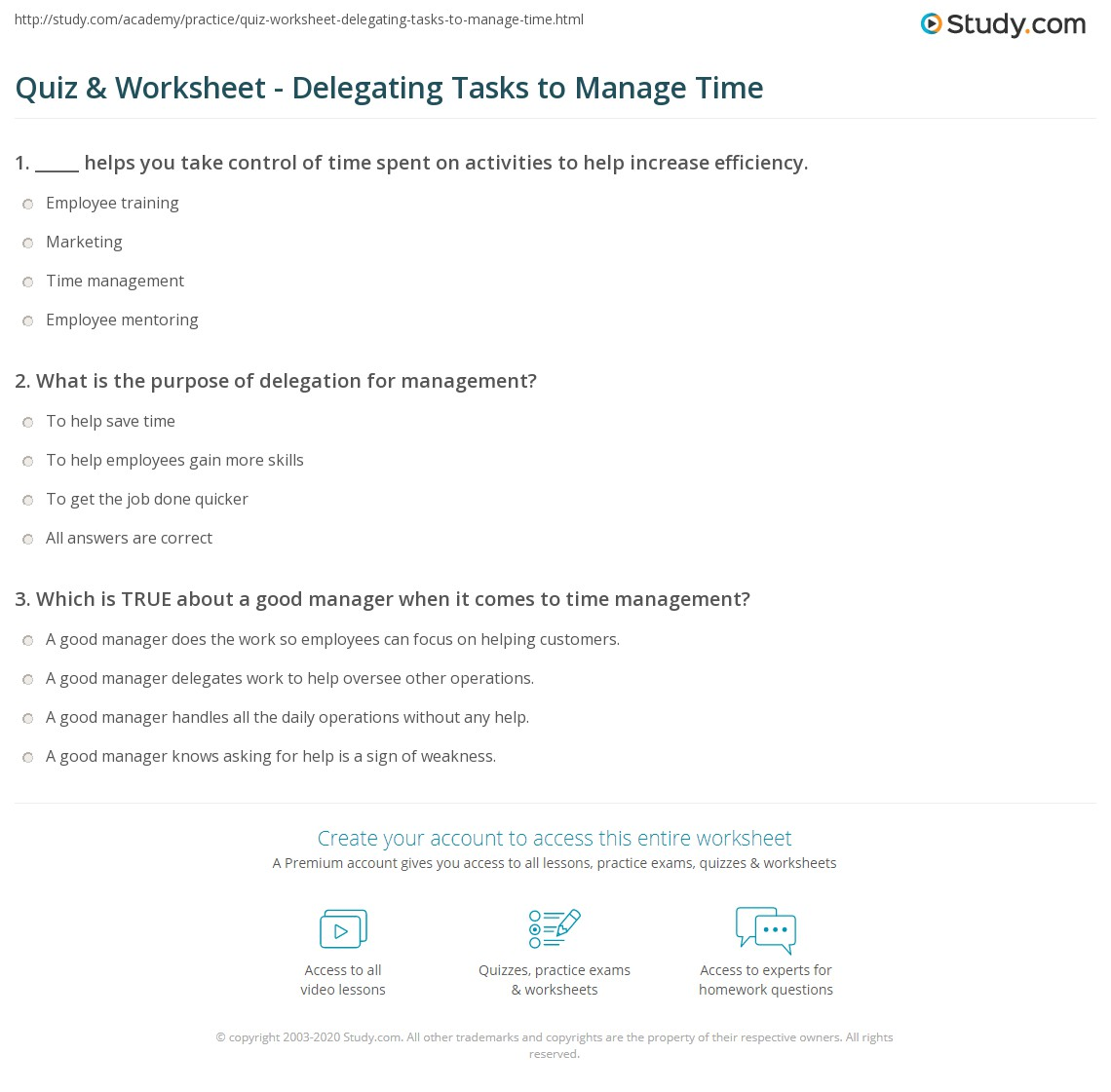 Quiz worksheet delegating tasks to manage time study print how to delegate tasks as a form of time management worksheet ibookread PDF