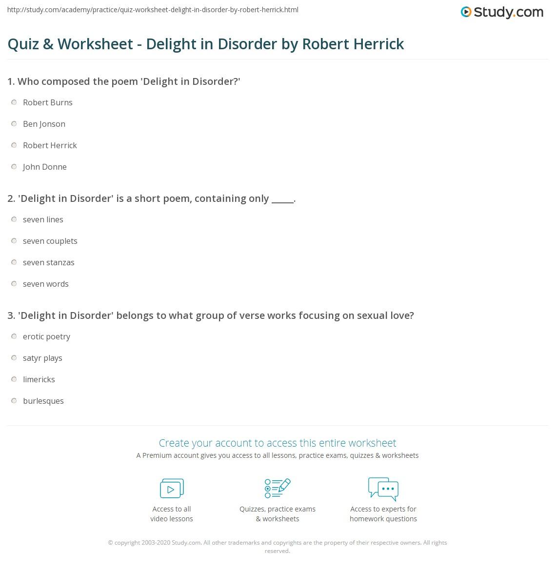 Robert Herrick delight in disorder summary