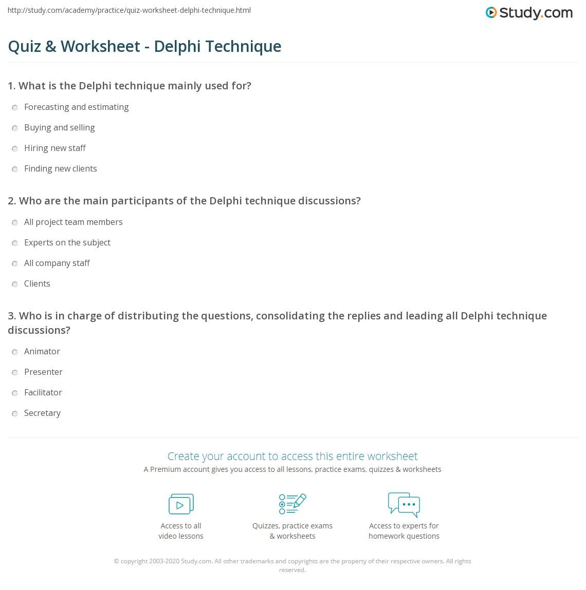 Quiz & Worksheet - Delphi Technique | Study com