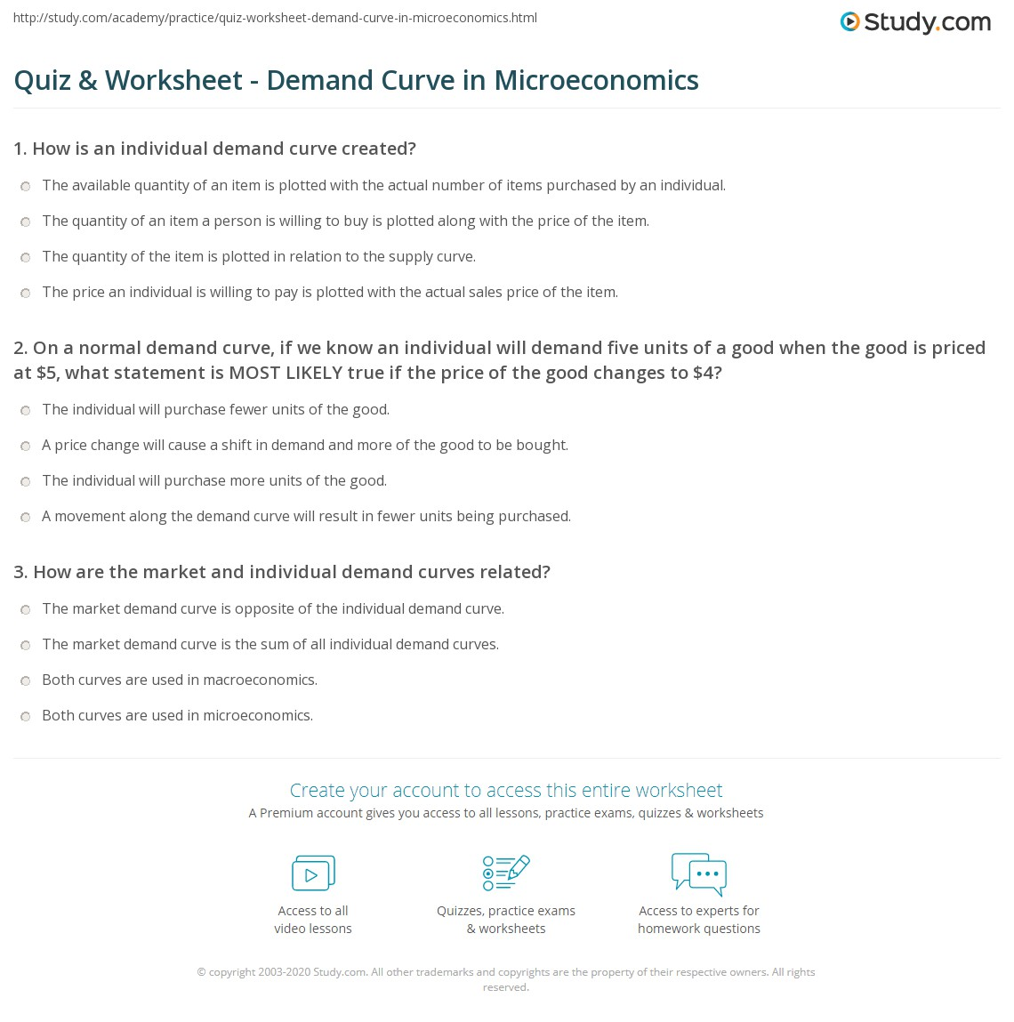 Quiz & Worksheet - Demand Curve in Microeconomics | Study.com