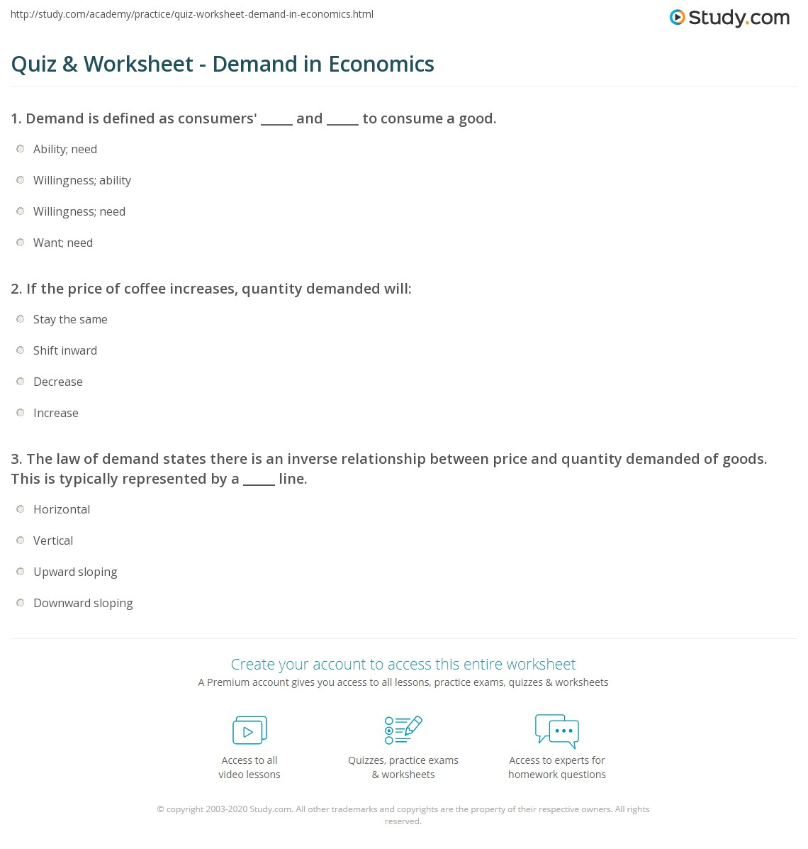 quiz worksheet demand in economics. Black Bedroom Furniture Sets. Home Design Ideas