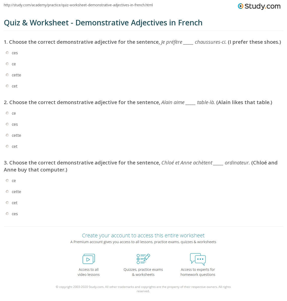 quiz worksheet demonstrative adjectives in french. Black Bedroom Furniture Sets. Home Design Ideas
