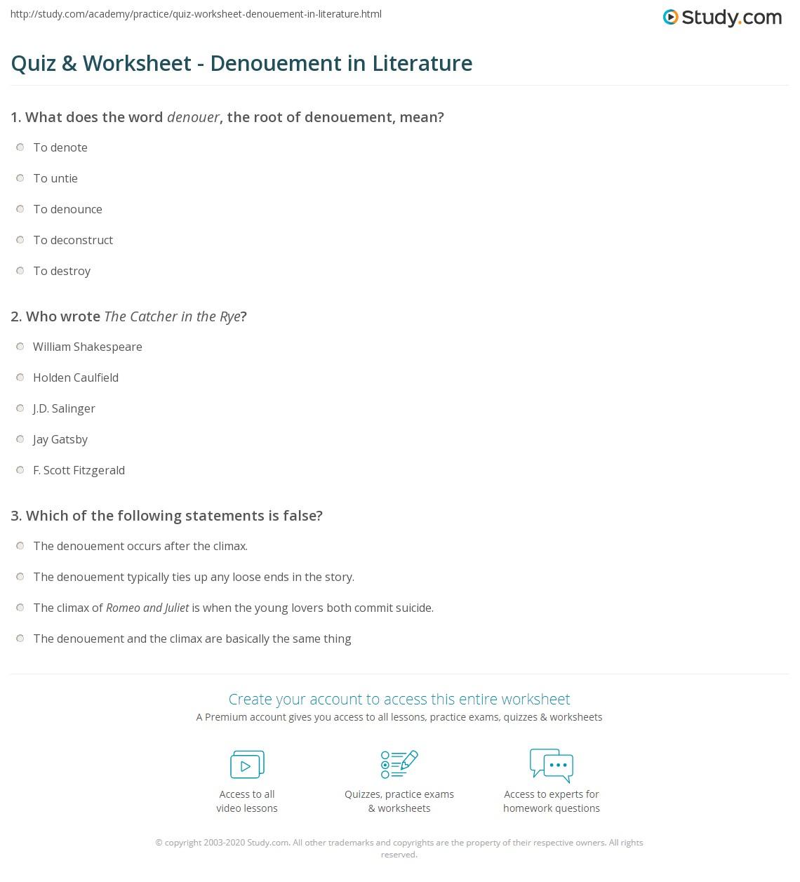 Quiz Worksheet Denouement In Literature Study