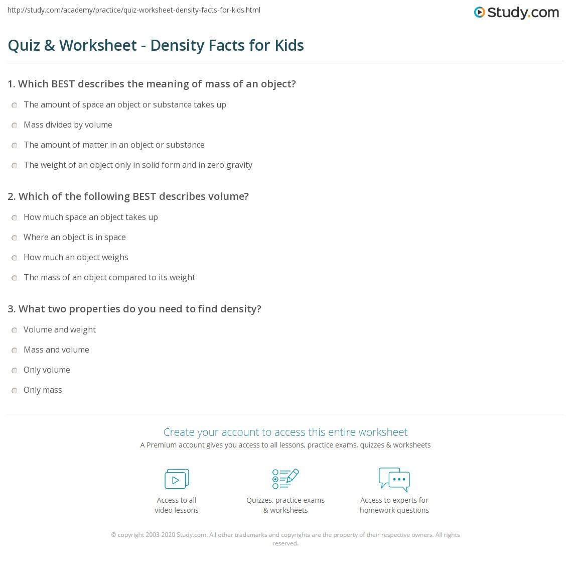 Quiz Worksheet Density Facts For Kids Study Com